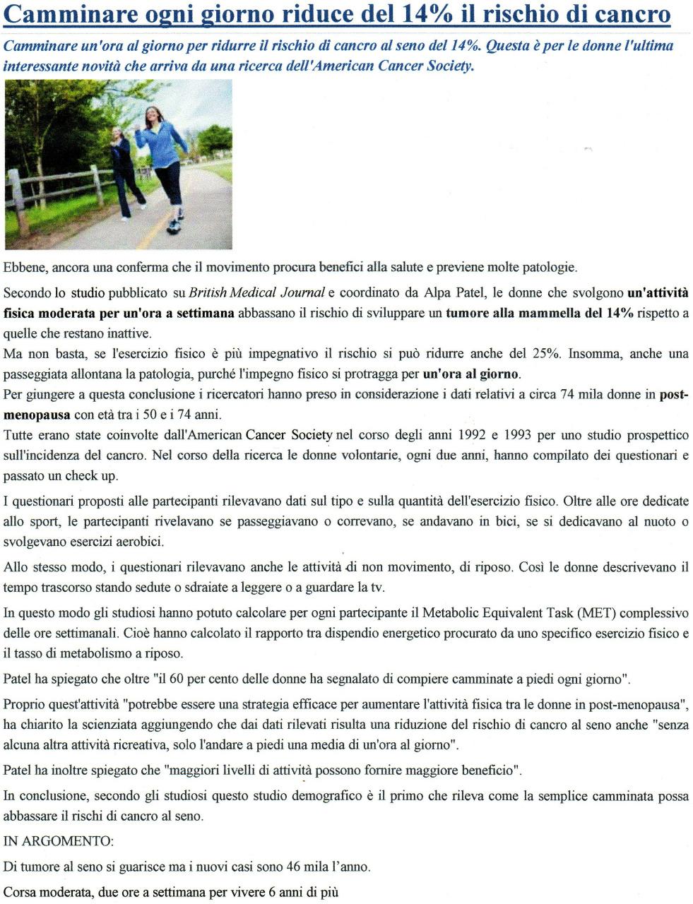 Camminare ogni giorno riduce del 14% il rischio di cancro